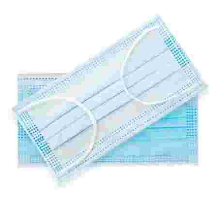 Маска защитная 3-х слойная медицинская на резинке 1 шт (Голубая)