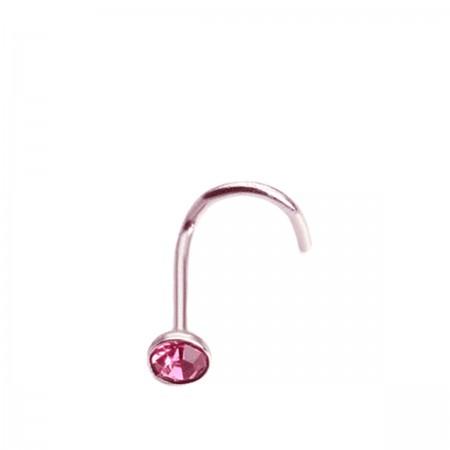 Пирсинг Caflon Studex в нос изогнутый с камнем розовое покрытие  (05 Розовый)