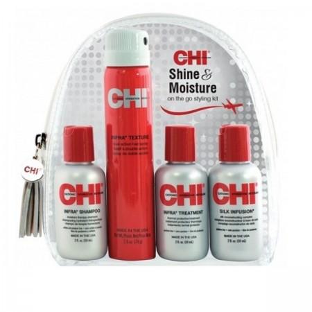 Набор CHI Shine & Moisture (шампунь+лак+маска+шелк)