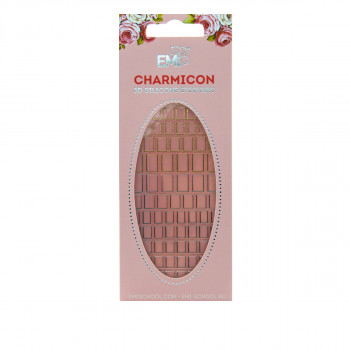 Наклейки для ногтей E.Mi Charmicon 3D Silicone Stickers (Квадраты №53 золото/серебро)