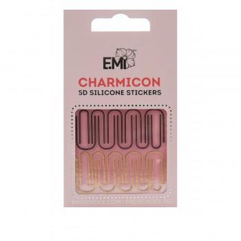 Наклейки для ногтей E.Mi Charmicon 3D Silicone Stickers (Изогнутые линии № 97 Линии № 41 золото серебро)