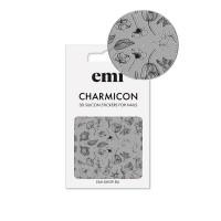 Наклейки для ногтей E.MI Charmicon 3D Silicone Stickers (176 Черные цветы)