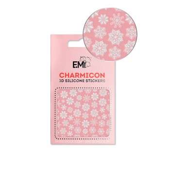 Наклейки для ногтей E.MI Charmicon 3D Silicone Stickers (150 Снежинки белые)