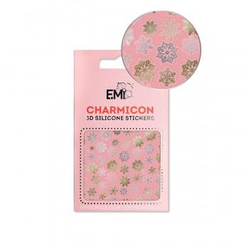 Наклейки для ногтей E.MI Charmicon 3D Silicone Stickers (151 Снежинки золото/серебро)