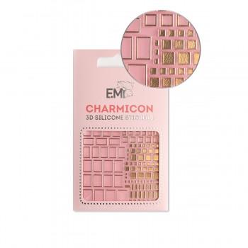Наклейки для ногтей E.MI Charmicon 3D Silicone Stickers (158 Квадраты золото)