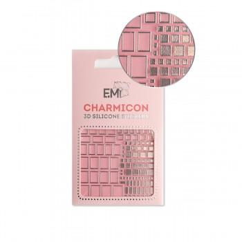 Наклейки для ногтей E.MI Charmicon 3D Silicone Stickers (159 Квадраты серебро)