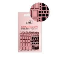 Наклейки для ногтей E.MI Charmicon 3D Silicone Stickers (160 Квадраты черные)