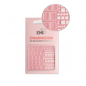 Наклейки для ногтей E.MI Charmicon 3D Silicone Stickers (161 Квадраты белые)