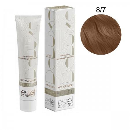 Краска для волос Estel Deluxe SILVER (8-7 Светло-русый коричневый)