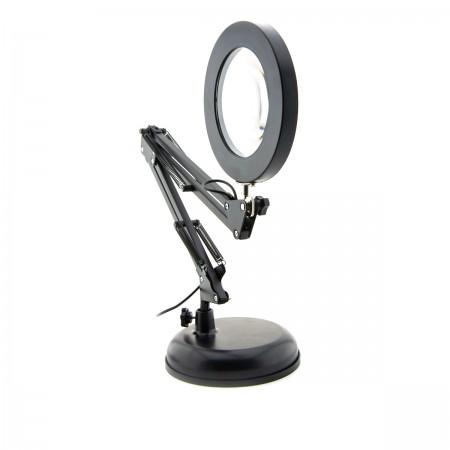 Лампа- Лупа LED 8w настольная для маникюра кольцо 105* (USB) (Черная)
