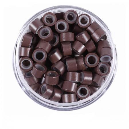 Микрокольца с резьбой Human Hair коричневые 1000 шт