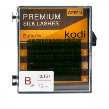Ресницы KODI Butterfly зеленые 6 рядов 0,15*B 12 мм