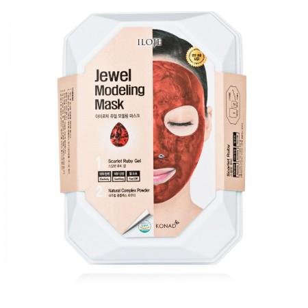 Маска альгинатная длица KONAD ILOJE Jewel Scarlet Ruby с рубиновой пудрой 50 г (ванночка+шпатель)