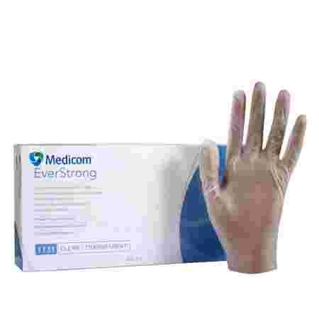 Перчатки винил без пудры нестерильные Medicom SafeTouch EverStrong Прозрачные 100 шт р L