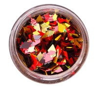 Ромбы NailApex 189 mix красные, черные, золото голограммное