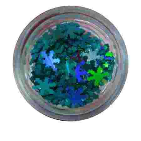 Конфетти NailApex снежинка бирюзовая голограммная