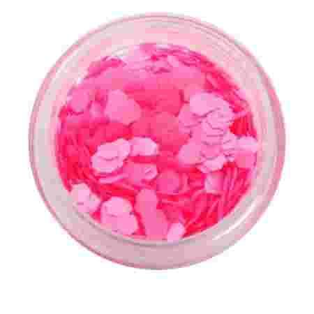 Матовый декор NailApex 215 шестигранник розовый неон