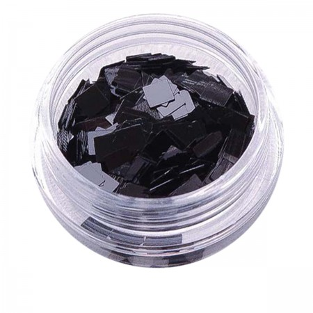 Черный декор NailApex 227 квадрат большой глянцевый