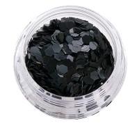 Черный декор NailApex 229 шестигранник маленький глянцевый