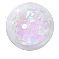 Голограммный декор NailApex 232 кружочки белые с розовым отливом большие