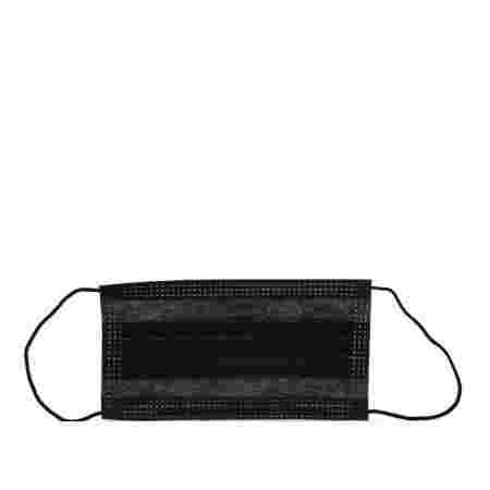 Маска защитная 3-х слойная медицинская на резинке 1 шт (Черная)