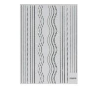 Лента гибкая для ногтей Nail sticker (Микс полосок-волн серебро)