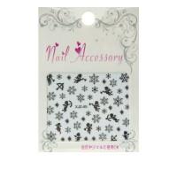 Лента гибкая для ногтей Nail sticker (3D-Снежинкиангелы микс2 серебро)