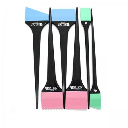 Набор кисточек силикон Salon для нанесения краски 6 шт
