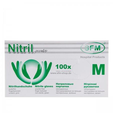 Перчатки нитриловые текстурированные на пальцах SFM зеленые (M)
