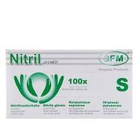 Перчатки нитриловые текстурированные на пальцах SFM зеленые (S)