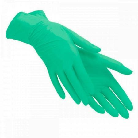 Перчатки нитриловые текстурированные на пальцах SFM Зеленые 1 пара