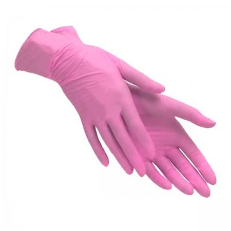 Перчатки нитрил текстурированые на пальцах SFM розовый 100 шт (XS)