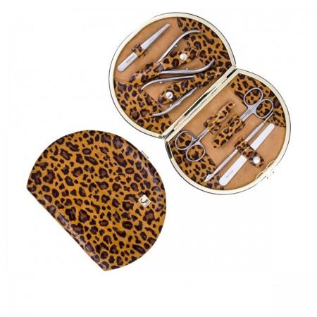"""Набор маникюрный Staleks """"Рамка"""" НМ-07/2Р 7 предметов питон винный леопард коричневый"""