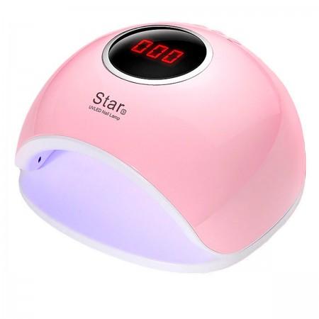 Лампа SUN LED/UV гибридная STAR 5 с дисплеем Розовая 48 Вт