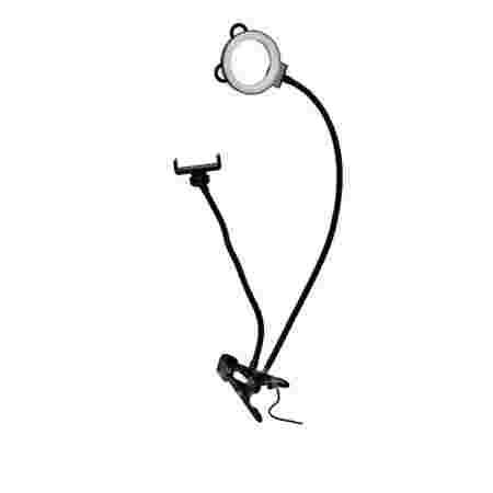 Лампа LED кольцо с держателем для телефона на прищепке