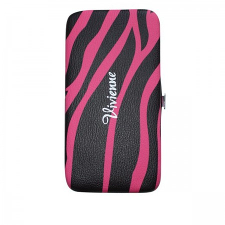 Пенал-книжка Vivienne со встроенным магнитом розовая зебра