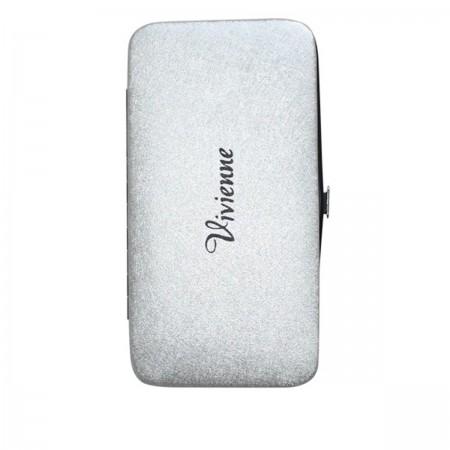 Пенал-книжка Vivienne со встроенным магнитом серебро