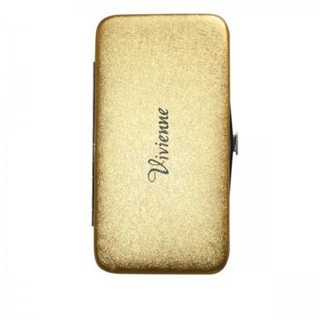Пенал-книжка Vivienne со встроенным магнитом золото