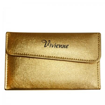 Пенал раскладной Vivienne с магнитной кнопкой на 6 пинцетов золото