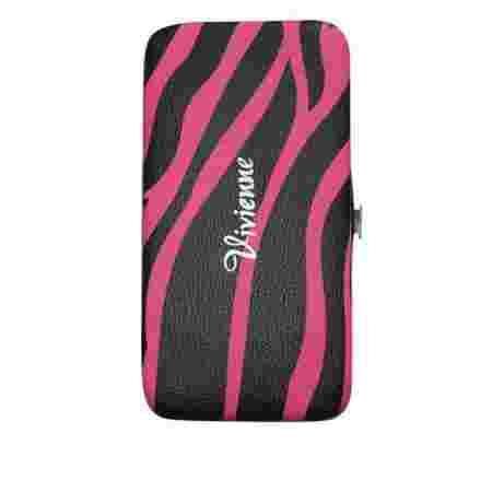 Пенал-книжка Vivienne с резиновыми ячейками+магнит Розовая зебра