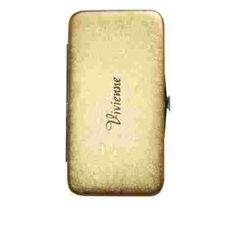 Пенал-книжка Vivienne с резиновыми ячейками+магнит Золото